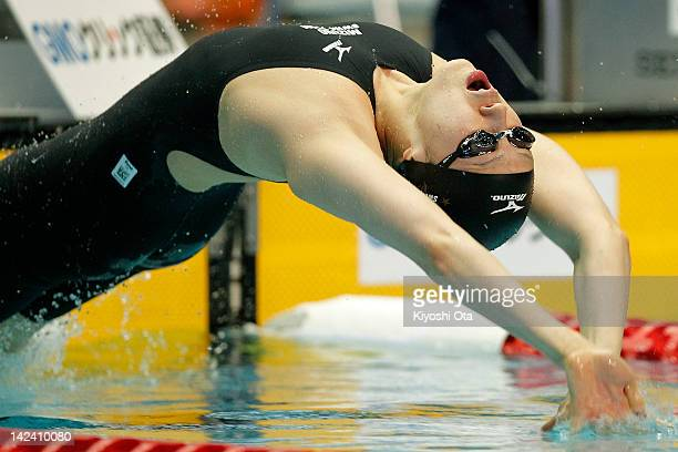 Aya Terakawa competes in the Women's 100m Backstroke semi final during day three of the Japan Swim 2012 at Tokyo Tatsumi International Swimming Pool...