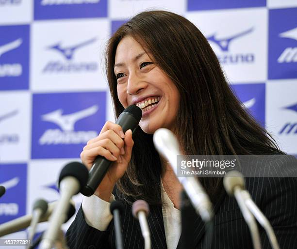 Aya Terakawa London Olympic Women's 100 metres backstroke bronze medalist speaks during a press conference on her retirement on December 4 2013 in...