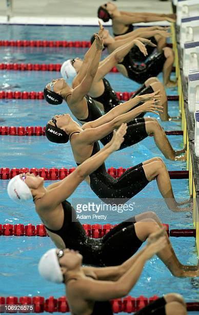 Aya Terakawa of Japan competes in the Women's 100m Backstroke at the Aoti Aquatics Centre during day five of the 16th Asian Games Guangzhou 2010 on...