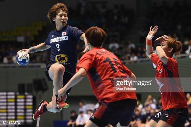 Aya Yokoshima of Japan takes a shot during the women's international match between Japan and South Korea at Komazawa Gymnasium on July 29 2017 in...