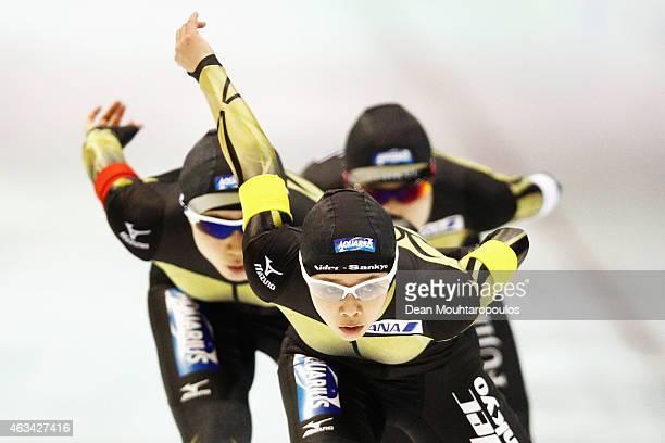 Ayaka Kikuchi Miho Takagi and Nana Takagi of Japan compete in the Team Pursuit Ladies during day 3 of the ISU World Single Distances Speed Skating...
