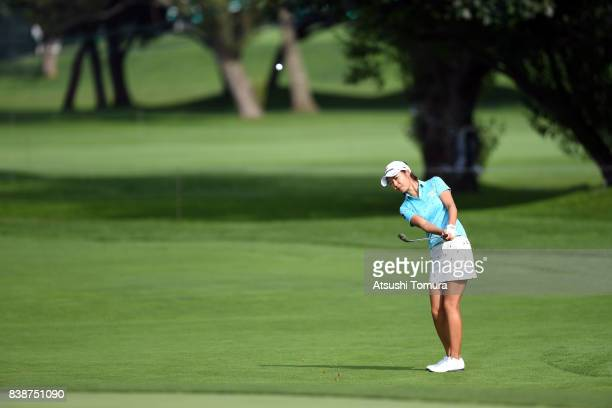 Ayaka Matsumori of Japan chips onto the 16th green during the second round of the Nitori Ladies 2017 at the Otaru Country Club on August 25 2017 in...