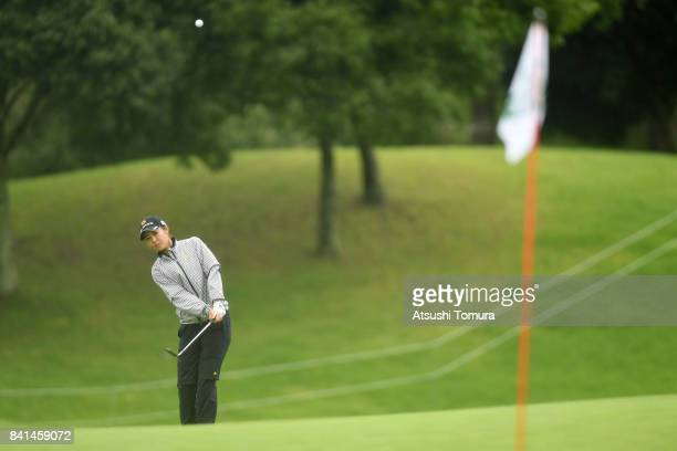 Ayaka Matsumori of Japan chips onto the 18th green during the first round of the Golf 5 Ladies Tournament 2017 at the Golf 5 Country Oak Village on...