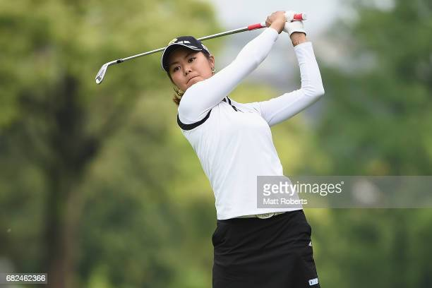 Ayaka Matsumori of Japan hits her approach shot on the 11th hole during the first round of the HokennoMadoguchi Ladies at the Fukuoka Country Club...