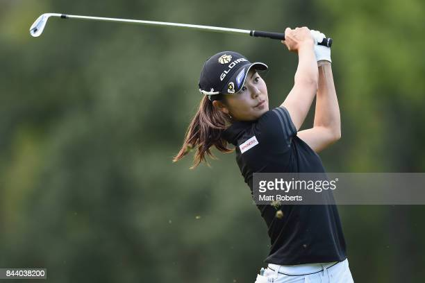 Ayaka Matsumori of Japan hits her second shot on the 11th hole during the second round of the 50th LPGA Championship Konica Minolta Cup 2017 at the...