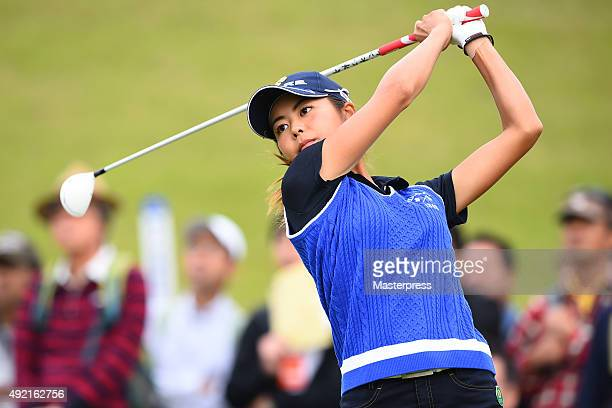 Ayaka Matsumori of Japan hits her tee shot on the 10th hole during the second round of Stanley Ladies Golf Tournament at the Tomei Country Club on...