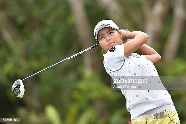 Ayaka Matsumori of Japan hits her tee shot on the 12th hole during the second round of the Daikin Orchid Ladies Golf Tournament at the Ryukyu Golf...
