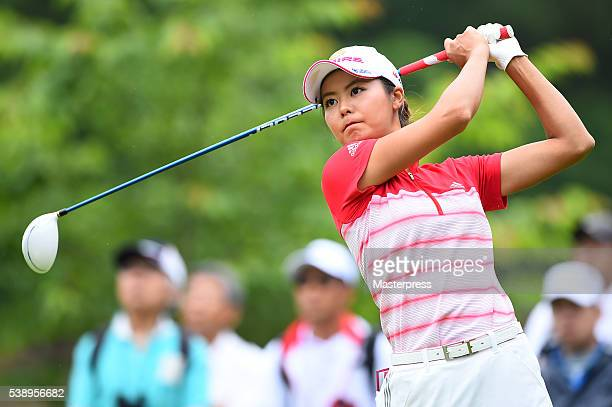 Ayaka Matsumori of Japan hits her tee shot on the 12th hole during the first round of the Suntory Ladies Open at the Rokko Kokusai Golf Club on June...