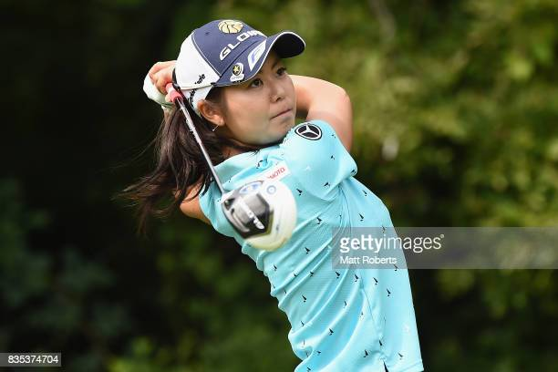 Ayaka Matsumori of Japan hits her tee shot on the 14th hole during the second round of the CAT Ladies Golf Tournament HAKONE JAPAN 2017 at the...