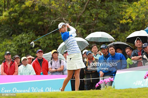 Ayaka Matsumori of Japan hits her tee shot on the 15th hole during the final round of the Daikin Orchid Ladies Golf Tournament at the Ryukyu Golf...