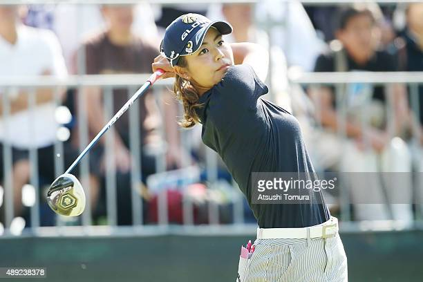 Ayaka Matsumori of Japan hits her tee shot on the 1st hole during the final round of the Munsingwear Ladies Tokai Classic at the Shin Minami Aichi...