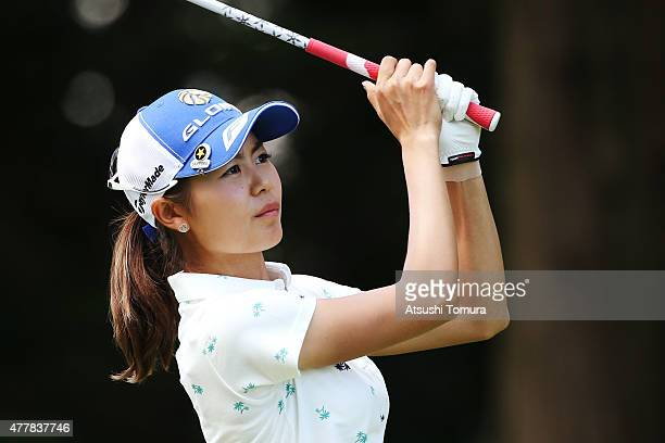 Ayaka Matsumori of Japan hits her tee shot on the 2nd hole during the second round of the Nichirei Ladies at the Sodegaura Country Club Shinsode...