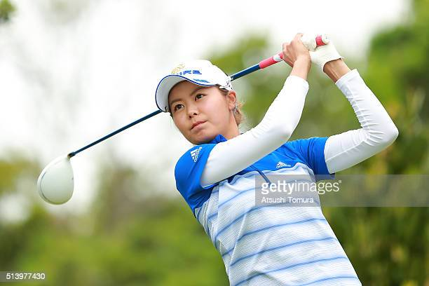 Ayaka Matsumori of Japan hits her tee shot on the 2nd hole during the final round of the Daikin Orchid Ladies Golf Tournament at the Ryukyu Golf Club...