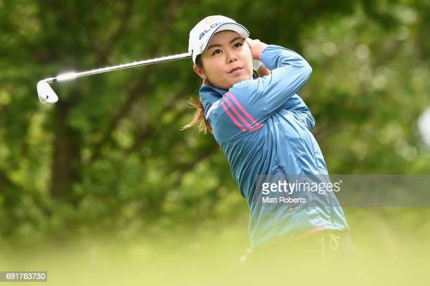 Ayaka Matsumori of Japan hits her tee shot on the 3rd hole during the first round of the Yonex Ladies Golf Tournament 2016 at the Yonex Country Club...