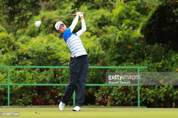 Ayaka Matsumori of Japan hits her tee shot on the 5th hole during the final round of the Daikin Orchid Ladies Golf Tournament at the Ryukyu Golf Club...