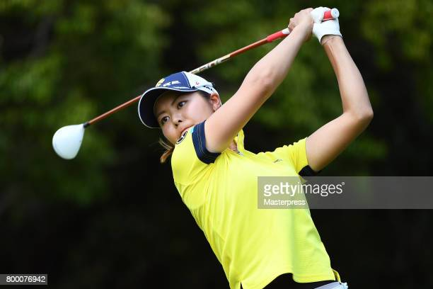 Ayaka Matsumori of Japan hits her tee shot on the 6th hole during the second round of the Earth Mondamin Cup at the Camellia Hills Country Club on...