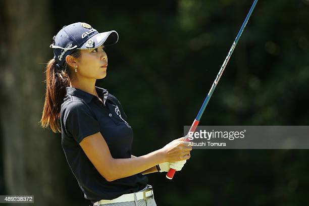 Ayaka Matsumori of Japan hits her tee shot on the 7th hole during the final round of the Munsingwear Ladies Tokai Classic at the Shin Minami Aichi...