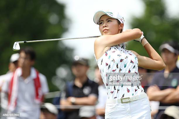 Ayaka Matsumori of Japan hits her tee shot on the 8th hole during the second round of the Golf 5 Ladies Tournament 2015 at the Mizunami Country Club...