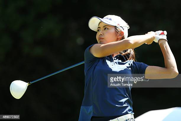 Ayaka Matsumori of Japan hits her tee shot on the 8th hole during the second round of the Munsingwear Ladies Tokai Classic at the Shin Minami Aichi...