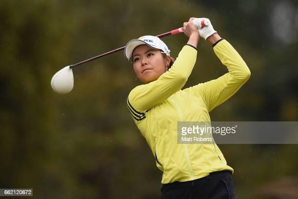 Ayaka Matsumori of Japan hits her tee shot on the first hole during the third round of the YAMAHA Ladies Open Katsuragi at the Katsuragi Golf Club...