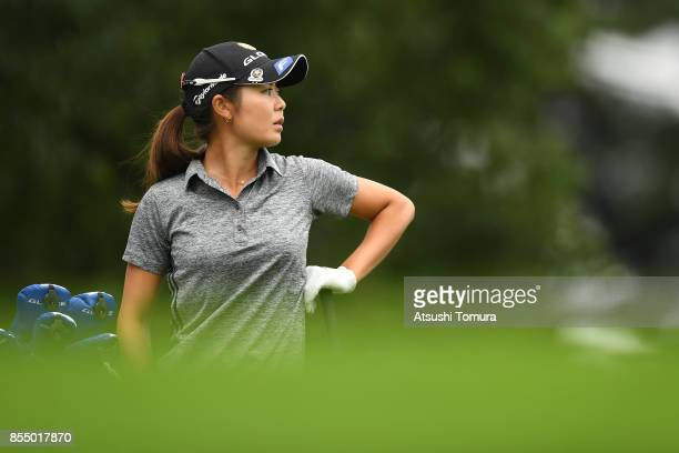 Ayaka Matsumori of Japan looks on during the first round of Japan Women's Open 2017 at the Abiko Golf Club on September 28 2017 in Abiko Chiba Japan