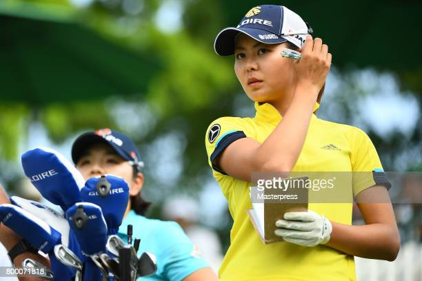 Ayaka Matsumori of Japan looks on during the second round of the Earth Mondamin Cup at the Camellia Hills Country Club on June 23 2017 in Sodegaura...