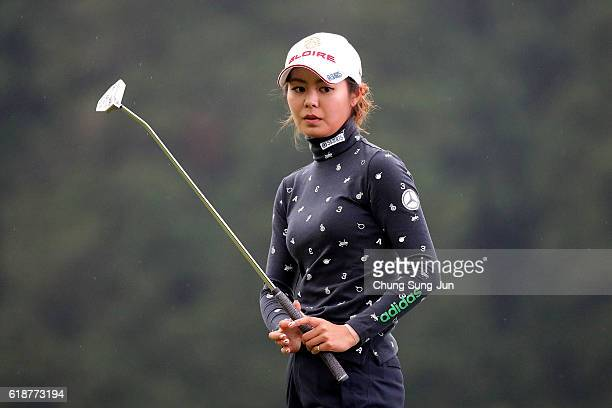 Ayaka Matsumori of Japan plays a putt on the 18th green during the first round of the Higuchi Hisako Ponta Ladies at the Musashigaoka Golf Course on...