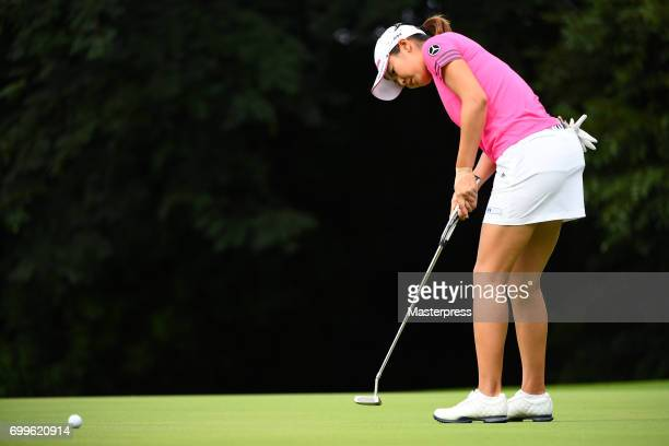 Ayaka Matsumori of Japan putts during the first round of the Earth Mondamin Cup at the Camellia Hills Country Club on June 22 2017 in Sodegaura Japan