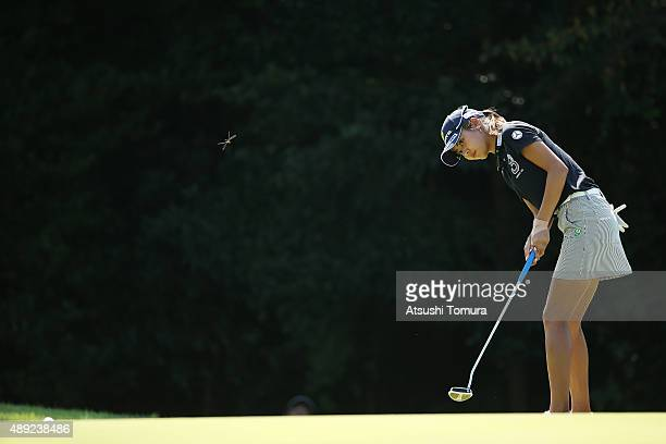 Ayaka Matsumori of Japan putts on the 15th green during the final round of the Munsingwear Ladies Tokai Classic at the Shin Minami Aichi Country Club...