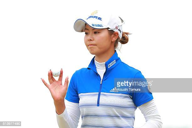 Ayaka Matsumori of Japan reacts during the final round of the Daikin Orchid Ladies Golf Tournament at the Ryukyu Golf Club on March 6 2016 in Nanjo...