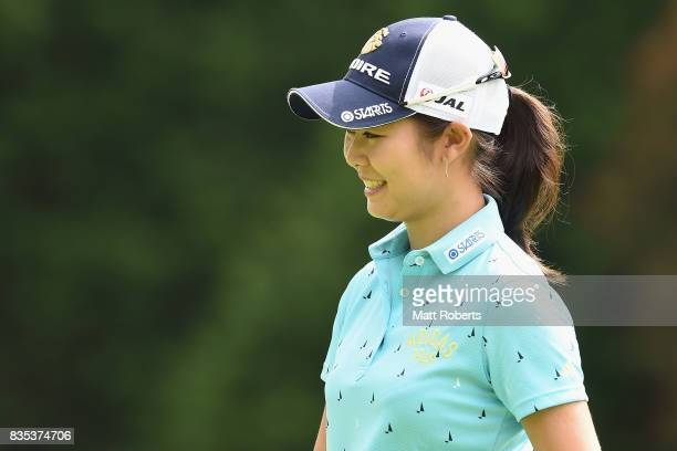 Ayaka Matsumori of Japan smiles after her putt on the 13th green during the second round of the CAT Ladies Golf Tournament HAKONE JAPAN 2017 at the...