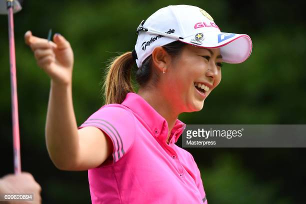 Ayaka Matsumori of Japan smiles during the first round of the Earth Mondamin Cup at the Camellia Hills Country Club on June 22 2017 in Sodegaura Japan