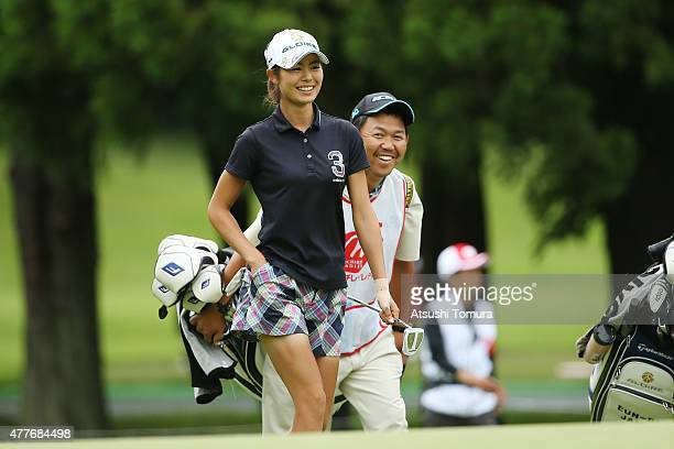 Ayaka Matsumori of Japan smiles during the first round of the Nichirei Ladies at the Sodegaura Country Club Shinsode Course on June 19 2015 in Chiba...