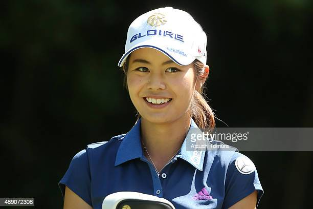 Ayaka Matsumori of Japan smiles during the second round of the Munsingwear Ladies Tokai Classic at the Shin Minami Aichi Country Club Mihama Course...