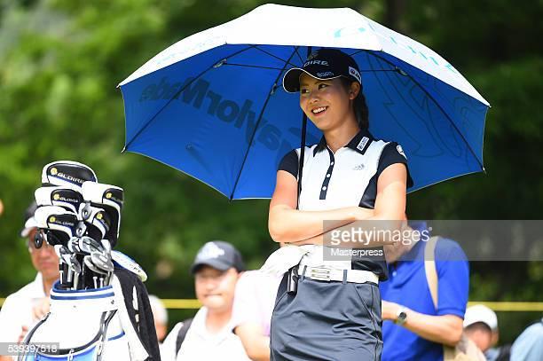 Ayaka Matsumori of Japan smiles during the third round of the Suntory Ladies Open at the Rokko Kokusai Golf Club on June 11 2016 in Kobe Japan