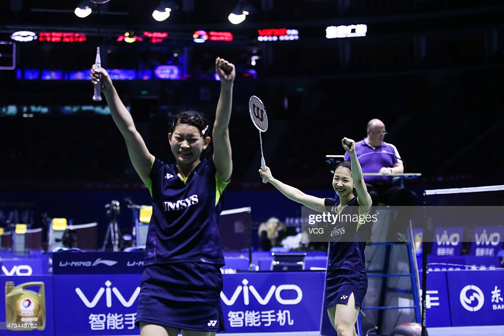 <a gi-track='captionPersonalityLinkClicked' href=/galleries/search?phrase=Ayaka+Takahashi&family=editorial&specificpeople=8671069 ng-click='$event.stopPropagation()'>Ayaka Takahashi</a> and <a gi-track='captionPersonalityLinkClicked' href=/galleries/search?phrase=Misaki+Matsutomo&family=editorial&specificpeople=6831788 ng-click='$event.stopPropagation()'>Misaki Matsutomo</a> of Japan celebrate during Women's Doubles match against Line Kjaersfeldt and Sara Thygesen of Denmark on day six of 2015 Sudirman Cup BWF World Mixed Team Championships on May 15, 2015 in Dongguan, Guangdong province of China.