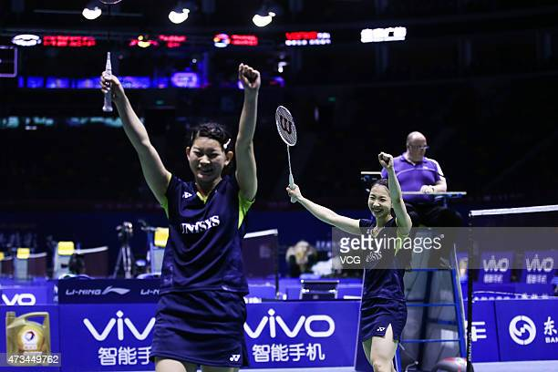 Ayaka Takahashi and Misaki Matsutomo of Japan celebrate during Women's Doubles match against Line Kjaersfeldt and Sara Thygesen of Denmark on day six...