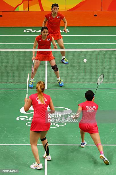 Ayaka Takahashi and Misaki Matsutomo of Japan compete against Ashwini Ponnappa and Jwala Gutta of India in the Womens Doubles on Day 6 of the 2016...