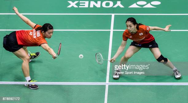 Ayaka Takahashi and Misaki Matsutomo of Japan compete against Chang Ye Na and Jung Kyung Eun of South Korea during their women doubles round 32 match...