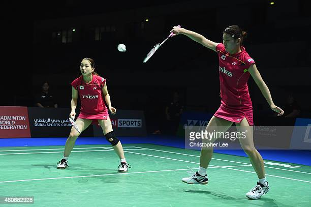 Ayaka Takahashi and Misaki Matsutomo of Japan in action against Chang Ye Na and Kim So Yeong of Korea in the Womens Doubles during the BWF...