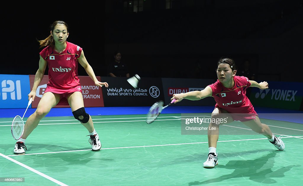 <a gi-track='captionPersonalityLinkClicked' href=/galleries/search?phrase=Ayaka+Takahashi&family=editorial&specificpeople=8671069 ng-click='$event.stopPropagation()'>Ayaka Takahashi</a> (R) and <a gi-track='captionPersonalityLinkClicked' href=/galleries/search?phrase=Misaki+Matsutomo&family=editorial&specificpeople=6831788 ng-click='$event.stopPropagation()'>Misaki Matsutomo</a> of Japan in action against Chang Ye Na and Kim So Yeong of Korea in the Womens Doubles during the BWF Destination Dubai World Superseries Finals day three at the Hamdan Sports Complex on December 19, 2014 in Dubai, United Arab Emirates.
