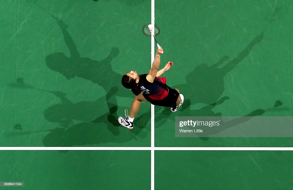 <a gi-track='captionPersonalityLinkClicked' href=/galleries/search?phrase=Ayaka+Takahashi&family=editorial&specificpeople=8671069 ng-click='$event.stopPropagation()'>Ayaka Takahashi</a> and Misaki Matsutomo of Japan in action against Ying Luo and Yu Luo of China in the Women's Doubles match during day three of the BWF Dubai World Superseries 2015 Finals at the Hamdan Sports Complex on December 11, 2015 in Dubai, United Arab Emirates.