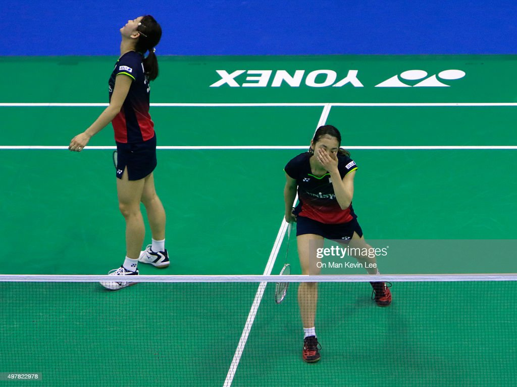 <a gi-track='captionPersonalityLinkClicked' href=/galleries/search?phrase=Ayaka+Takahashi&family=editorial&specificpeople=8671069 ng-click='$event.stopPropagation()'>Ayaka Takahashi</a> and <a gi-track='captionPersonalityLinkClicked' href=/galleries/search?phrase=Misaki+Matsutomo&family=editorial&specificpeople=6831788 ng-click='$event.stopPropagation()'>Misaki Matsutomo</a> of Japan reacts during the match between <a gi-track='captionPersonalityLinkClicked' href=/galleries/search?phrase=Misaki+Matsutomo&family=editorial&specificpeople=6831788 ng-click='$event.stopPropagation()'>Misaki Matsutomo</a> and <a gi-track='captionPersonalityLinkClicked' href=/galleries/search?phrase=Ayaka+Takahashi&family=editorial&specificpeople=8671069 ng-click='$event.stopPropagation()'>Ayaka Takahashi</a> of Japan and Tang Jinhua and Zhong Qianxin of China during Day 2 of the Preliminary Rounds of Sunrise-Yonex Hong Kong Open 2015 on November 19, 2015 in Hong Kong, Hong Kong.