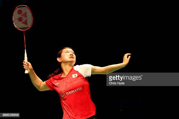 Ayaka Takahashi of Japan competes in her Quarter Final partnered with Misaki Matsutomo against Vivian Hoo and Woon Khe Wei of Malaysia during the...