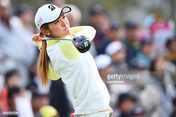 Ayaka Watanabe hits her tee shot on the 1st hole in the final round during the Studio Alice Open at the Hanayashiki Golf Club Yokawa Course on April...
