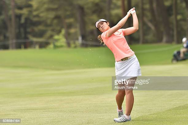 Ayaka Watanabe of Japan hits her second shot on the 11th hole during the second round of the World Ladies Championship Salonpas Cup at the Ibaraki...