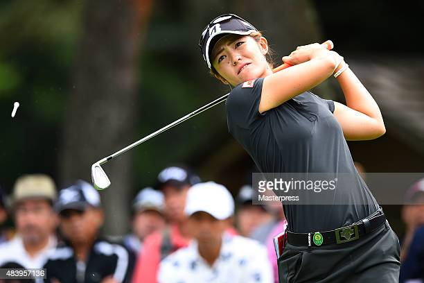Ayaka Watanabe of Japan hits her tee shot on the 12th hole during the first round of the NEC Karuizawa 72 Golf Tournament 2015 at the Karuizawa 72...