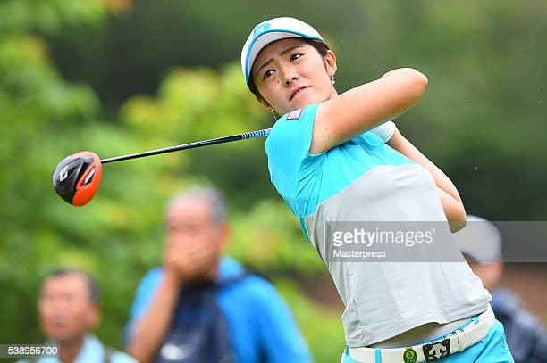 Ayaka Watanabe of Japan hits her tee shot on the 12th hole during the first round of the Suntory Ladies Open at the Rokko Kokusai Golf Club on June 9...