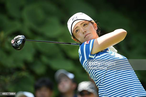 Ayaka Watanabe of Japan hits her tee shot on the 13th hole during the first round of the meiji Cup 2015 at the Sapporo Kokusai Country Club on August...
