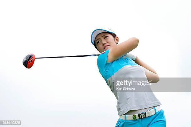 Ayaka Watanabe of Japan hits her tee shot on the 15th hole during the first round of the Suntory Ladies Open at the Rokko Kokusai Golf Club on June 9...